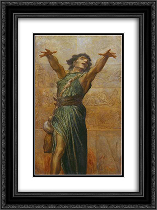 Jonah 18x24 Black or Gold Ornate Framed and Double Matted Art Print by George Frederick Watts