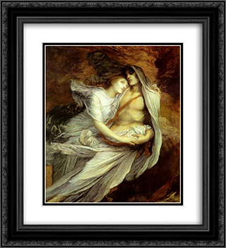 Pablo and Francesca 20x22 Black or Gold Ornate Framed and Double Matted Art Print by George Frederick Watts