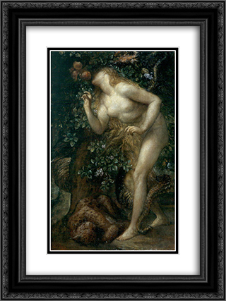 Eve Tempted 18x24 Black or Gold Ornate Framed and Double Matted Art Print by George Frederick Watts
