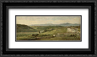 Panoramic Landscape with a Farmhouse 24x14 Black or Gold Ornate Framed and Double Matted Art Print by George Frederick Watts