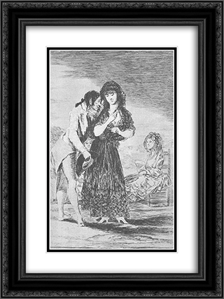 Caprichos - Plate 7: Even Thus he Cannot Make her Out 18x24 Black or Gold Ornate Framed and Double Matted Art Print by Francisco Goya