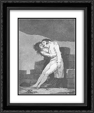 Caprichos - Plate 10: Love and Death 20x24 Black or Gold Ornate Framed and Double Matted Art Print by Francisco Goya