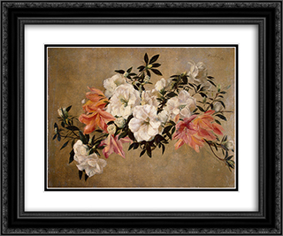 Petunias 24x20 Black or Gold Ornate Framed and Double Matted Art Print by Henri Fantin Latour
