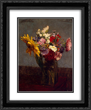 Flowers 20x24 Black or Gold Ornate Framed and Double Matted Art Print by Henri Fantin Latour