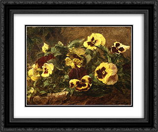 Pansies 24x20 Black or Gold Ornate Framed and Double Matted Art Print by Henri Fantin Latour