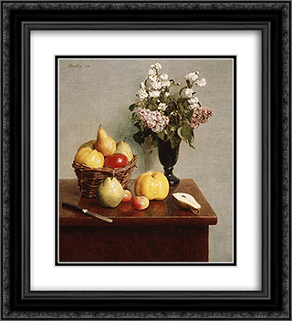 Still Life with Flowers and Fruit 20x22 Black or Gold Ornate Framed and Double Matted Art Print by Henri Fantin Latour