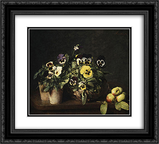 Still Life with Pansies 22x20 Black or Gold Ornate Framed and Double Matted Art Print by Henri Fantin Latour