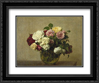 Roses 24x20 Black or Gold Ornate Framed and Double Matted Art Print by Henri Fantin Latour