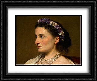 Duchess de Fitz-James [detail: 1] 24x20 Black or Gold Ornate Framed and Double Matted Art Print by Henri Fantin Latour