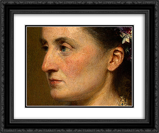 Duchess de Fitz-James [detail: 2] 24x20 Black or Gold Ornate Framed and Double Matted Art Print by Henri Fantin Latour