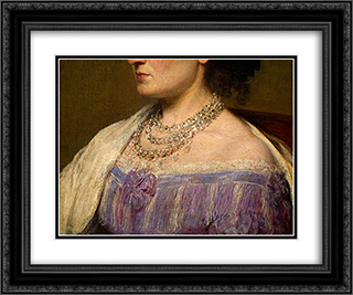 Duchess de Fitz-James [detail: 3] 24x20 Black or Gold Ornate Framed and Double Matted Art Print by Henri Fantin Latour