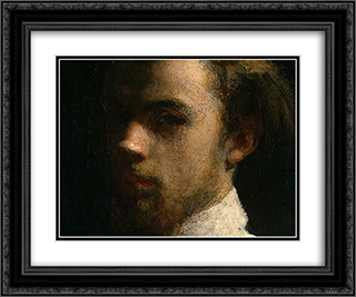 Self-Portrait [detail: 1] 24x20 Black or Gold Ornate Framed and Double Matted Art Print by Henri Fantin Latour