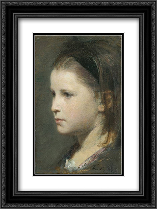 Head of a Young Girl 18x24 Black or Gold Ornate Framed and Double Matted Art Print by Henri Fantin Latour