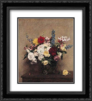 The Rosy Wealth of June 20x22 Black or Gold Ornate Framed and Double Matted Art Print by Henri Fantin Latour