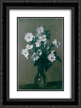 Japanese Anemones 18x24 Black or Gold Ornate Framed and Double Matted Art Print by Henri Fantin Latour