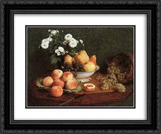 Flowers & Fruit on a Table 24x20 Black or Gold Ornate Framed and Double Matted Art Print by Henri Fantin Latour