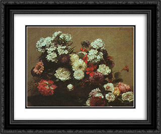 Still Life with Flowers 24x20 Black or Gold Ornate Framed and Double Matted Art Print by Henri Fantin Latour