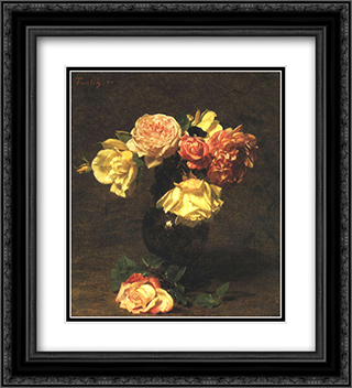 White and Pink Roses 20x22 Black or Gold Ornate Framed and Double Matted Art Print by Henri Fantin Latour