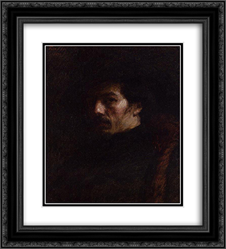 Portrait of Alphonse Legros 20x22 Black or Gold Ornate Framed and Double Matted Art Print by Henri Fantin Latour