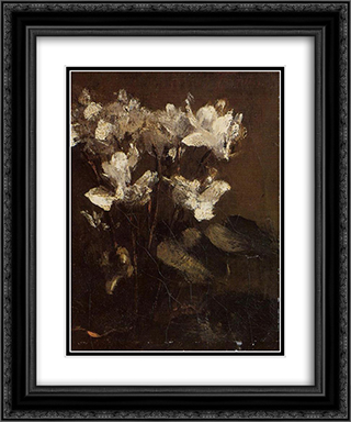 Fleurs, cyclamens 20x24 Black or Gold Ornate Framed and Double Matted Art Print by Henri Fantin Latour