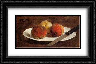 Plate of Peaches 24x16 Black or Gold Ornate Framed and Double Matted Art Print by Henri Fantin Latour