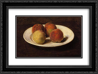 Still Life of Four Peaches 24x18 Black or Gold Ornate Framed and Double Matted Art Print by Henri Fantin Latour