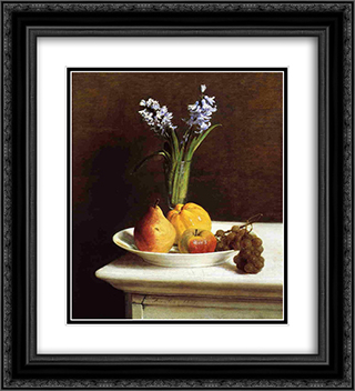 Still Life, Hyacinths and Fruit 20x22 Black or Gold Ornate Framed and Double Matted Art Print by Henri Fantin Latour