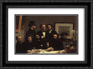The Corner of the Table 24x18 Black or Gold Ornate Framed and Double Matted Art Print by Henri Fantin Latour
