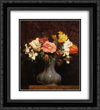 Flowers, Camelias and Tulips 20x22 Black or Gold Ornate Framed and Double Matted Art Print by Henri Fantin Latour