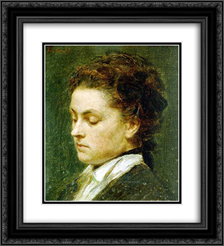 Ritratto di Giovane Donna 20x22 Black or Gold Ornate Framed and Double Matted Art Print by Henri Fantin Latour