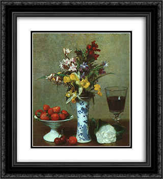 Still Life 20x22 Black or Gold Ornate Framed and Double Matted Art Print by Henri Fantin Latour