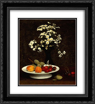 Still Life with Flowers 20x22 Black or Gold Ornate Framed and Double Matted Art Print by Henri Fantin Latour