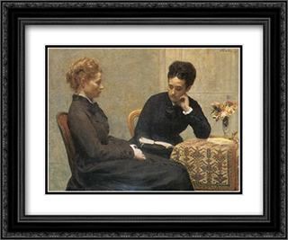 La Lecture 24x20 Black or Gold Ornate Framed and Double Matted Art Print by Henri Fantin Latour