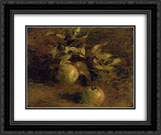 Apples 24x20 Black or Gold Ornate Framed and Double Matted Art Print by Henri Fantin Latour