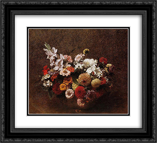 Bouquet of Flowers 22x20 Black or Gold Ornate Framed and Double Matted Art Print by Henri Fantin Latour