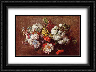 Bouquet of Flowers 24x18 Black or Gold Ornate Framed and Double Matted Art Print by Henri Fantin Latour