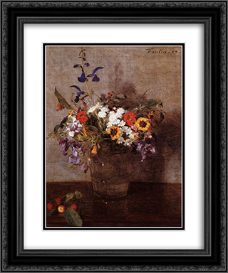 Diverse Flowers 20x24 Black or Gold Ornate Framed and Double Matted Art Print by Henri Fantin Latour