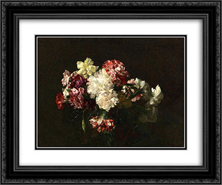 Carnations 24x20 Black or Gold Ornate Framed and Double Matted Art Print by Henri Fantin Latour