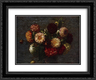 Chrysanthemums 24x20 Black or Gold Ornate Framed and Double Matted Art Print by Henri Fantin Latour
