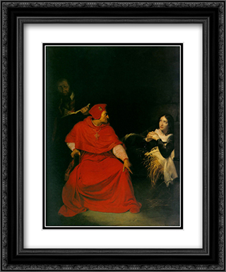 Joan of Arc in Prison 20x24 Black or Gold Ornate Framed and Double Matted Art Print by Paul Delaroche