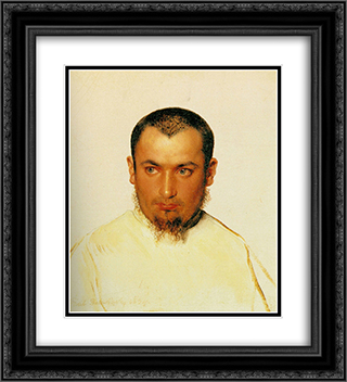 Head of a Camoldine Monk 20x22 Black or Gold Ornate Framed and Double Matted Art Print by Paul Delaroche