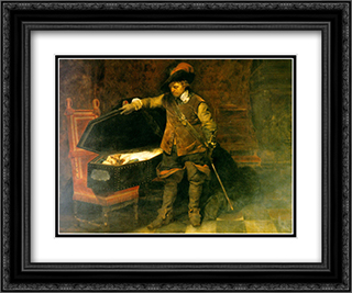 Cromwell and Charles I 24x20 Black or Gold Ornate Framed and Double Matted Art Print by Paul Delaroche
