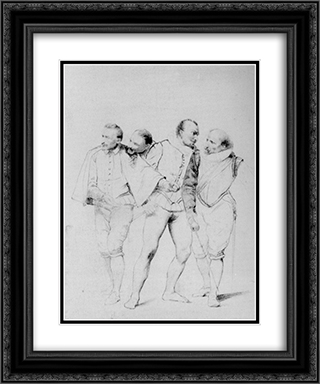 Pencil Study II 20x24 Black or Gold Ornate Framed and Double Matted Art Print by Paul Delaroche