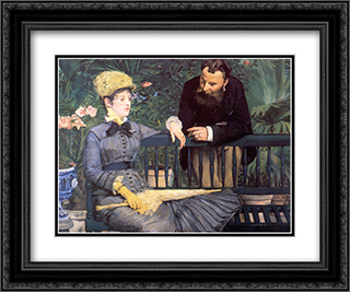 In the Conservatory 24x20 Black or Gold Ornate Framed and Double Matted Art Print by Edouard Manet