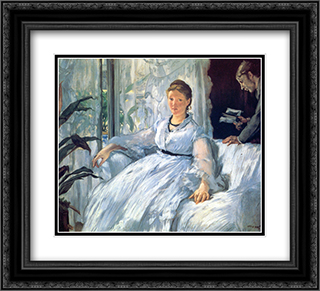 Reading 22x20 Black or Gold Ornate Framed and Double Matted Art Print by Edouard Manet
