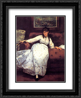 Repose 20x24 Black or Gold Ornate Framed and Double Matted Art Print by Edouard Manet