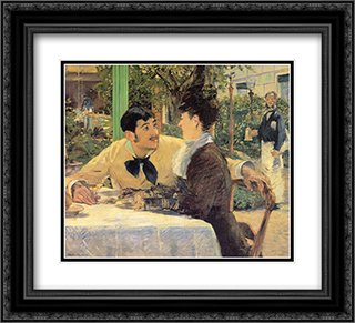 Chez Le Pere Lathuile 22x20 Black or Gold Ornate Framed and Double Matted Art Print by Edouard Manet