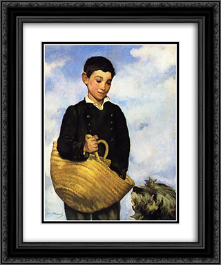 Boy with Dog 20x24 Black or Gold Ornate Framed and Double Matted Art Print by Edouard Manet