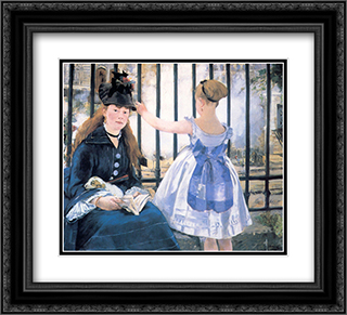 The Railroad 22x20 Black or Gold Ornate Framed and Double Matted Art Print by Edouard Manet
