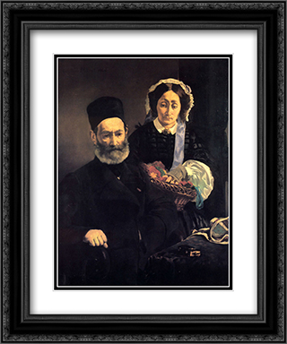 M. and Mme Auguste Manet 20x24 Black or Gold Ornate Framed and Double Matted Art Print by Edouard Manet